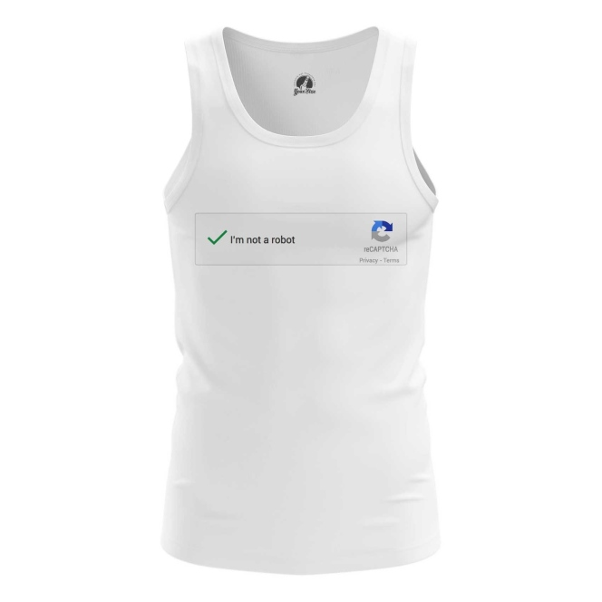 Buy Tank mens t shirt Not a robot Mem Art Captcha Web Fun merchandise collectibles