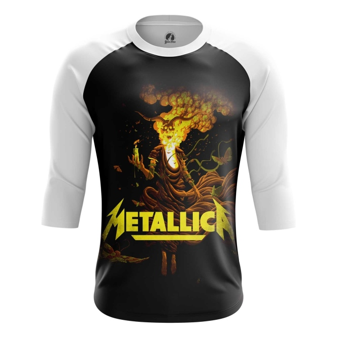 Buy Raglan sleeve mens t shirt Metallica Band Apparel Merchandise Fans Props merchandise collectibles