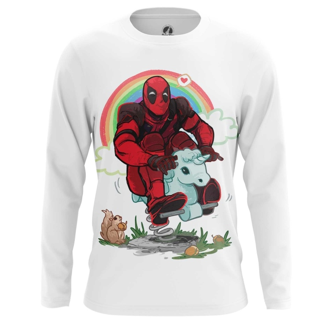 Buy Long sleeve mens t shirt Deadpool Rainbow Unicorn Apparel Merchandise collectibles