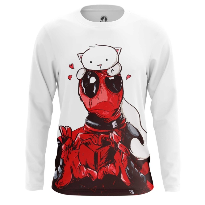Buy Long sleeve mens t shirt Kitty Deadpool Merch Apparel Merchandise collectibles