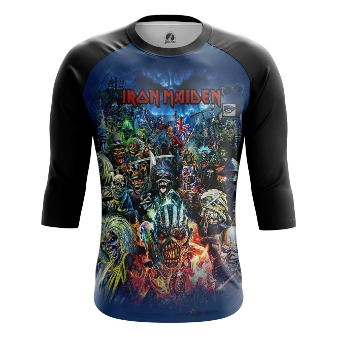 Buy Raglan sleeve mens t shirt Iron Maiden Merchandise Apparel Merchandise collectibles