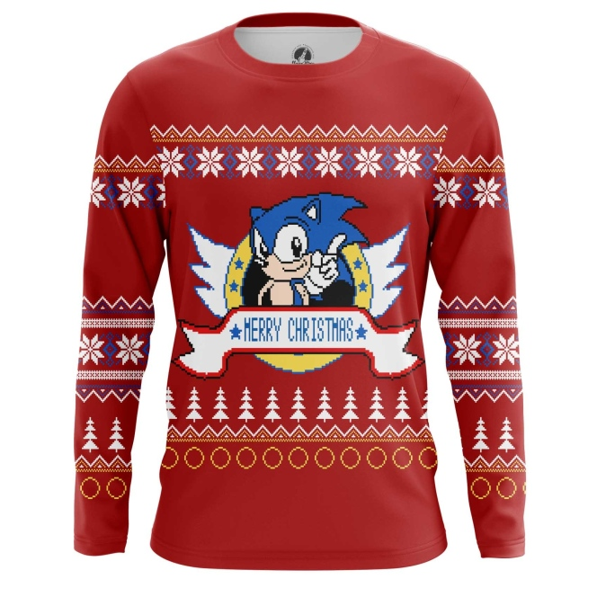 Buy Long sleeve mens t shirt Sonic sonic the hedgehog X mas Christmas Special merchandise collectibles