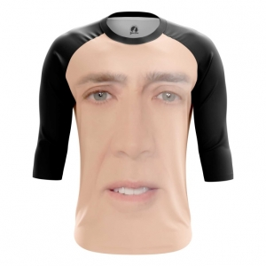 Buy Raglan sleeve mens t shirt Nicolas Cage Face Art Meme Fun merchandise collectibles