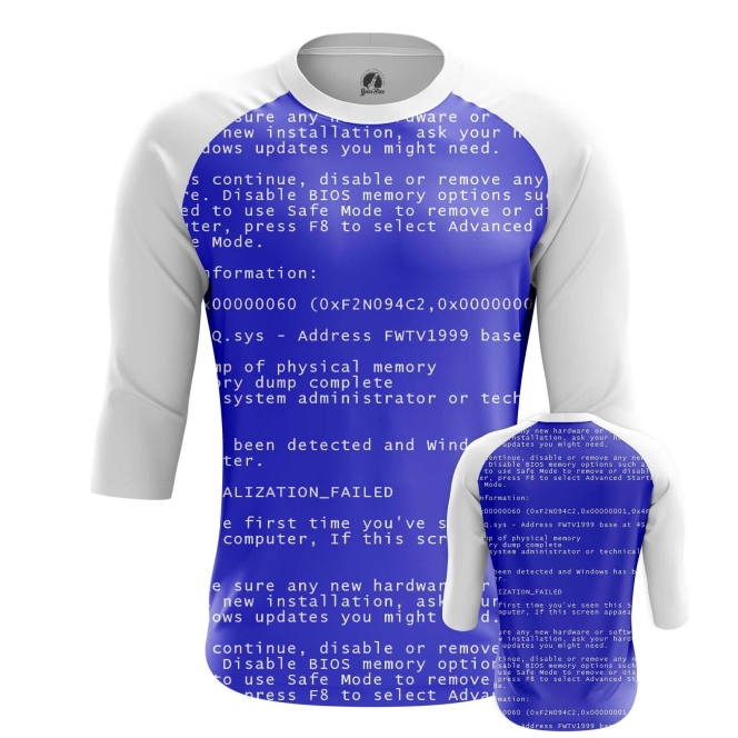 Buy Raglan sleeve mens t shirt Blue Screen of death Web Fun art merchandise collectibles