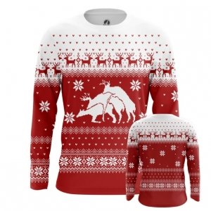 Buy Long sleeve mens t shirt Deers Christmas Sweater Santa Fun Art merchandise collectibles