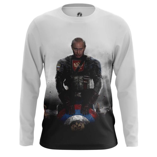 Buy Long sleeve mens t shirt Vladimir Putin President Captain Russia Marvel Crossover merchandise collectibles