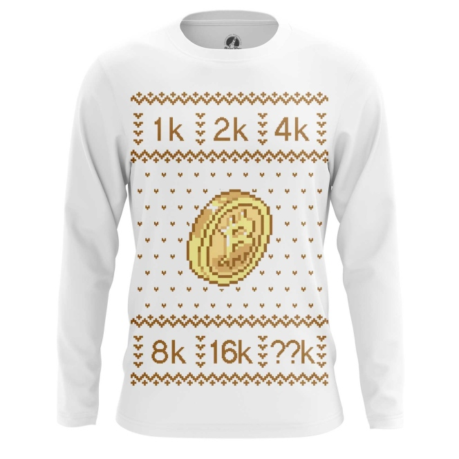 Buy Long sleeve mens t shirt Bitcoin Christmas Special New Year Pattern Merchandise collectibles
