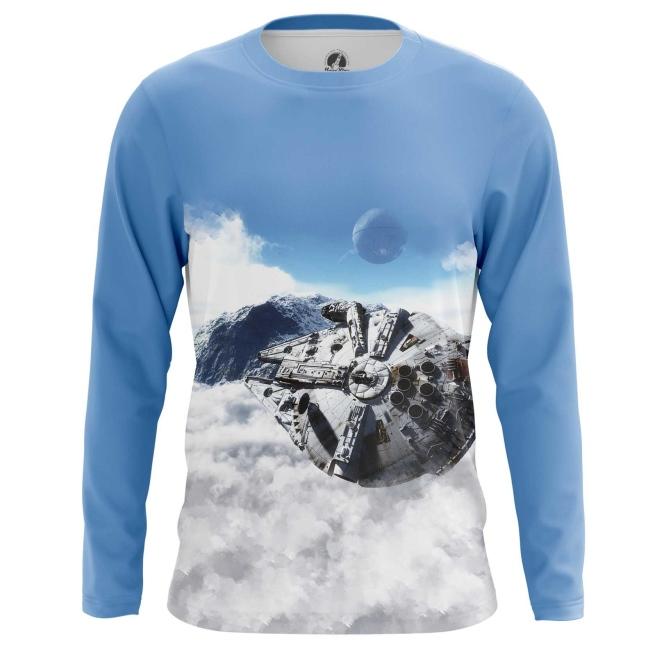 Buy Long sleeve mens t shirt Millennium Falcon Star Wars merch merchandise collectibles