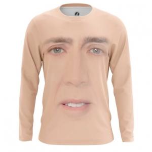 Buy Long sleeve mens t shirt Nicolas Cage Face Art Meme Fun merchandise collectibles