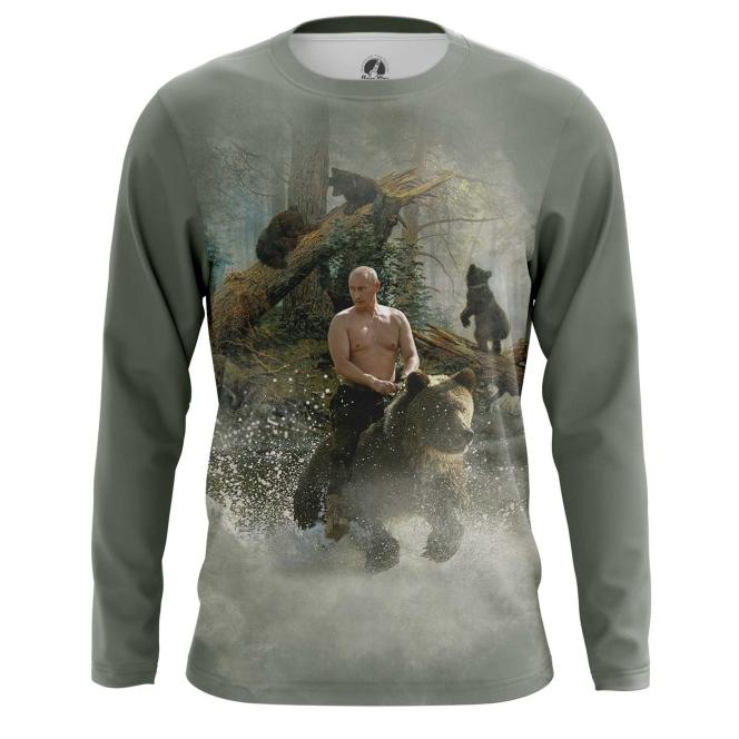 Buy Long sleeve mens t shirt Vladimir Putin Russian Bear Force Military merchandise collectibles