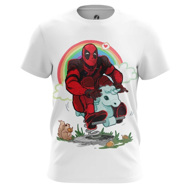 Buy Mens t shirt Deadpool Rainbow Unicorn Apparel Merchandise collectibles