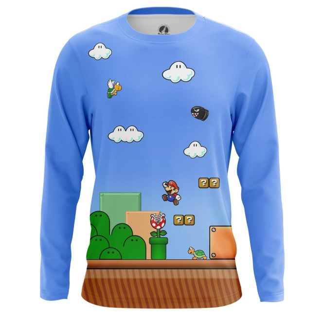 Buy Long sleeve mens t shirt Mario Game Level Coins Illustration merchandise collectibles