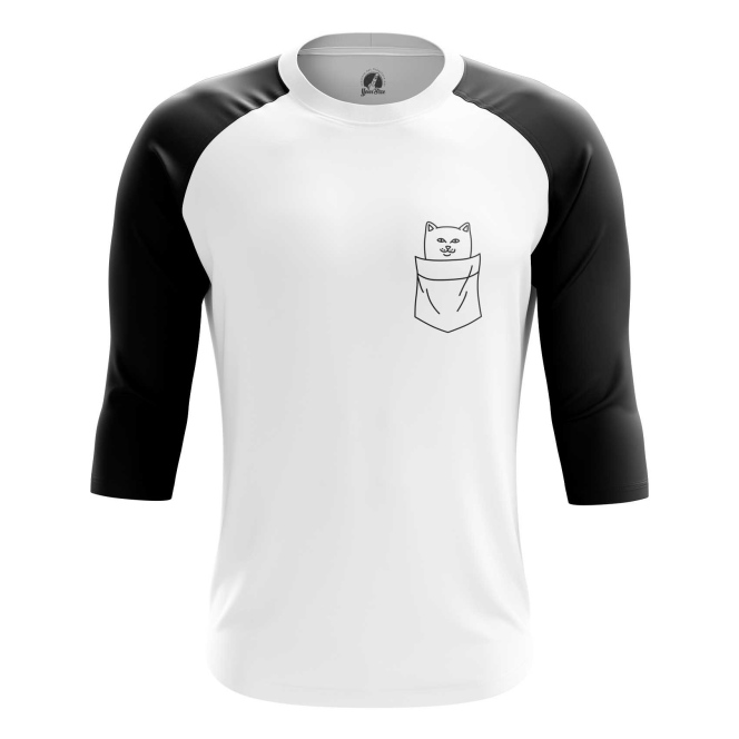 Buy Raglan sleeve mens t shirt Cat in the Pocket Kitty Apparel Clothing Merchandise collectibles