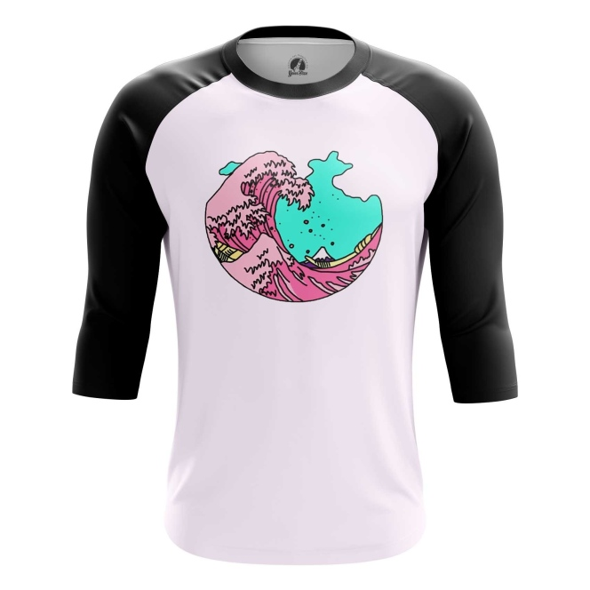 Buy Raglan sleeve mens t shirt The Great Wave off Kanagawa Art 3D Japan Illustration merchandise collectibles