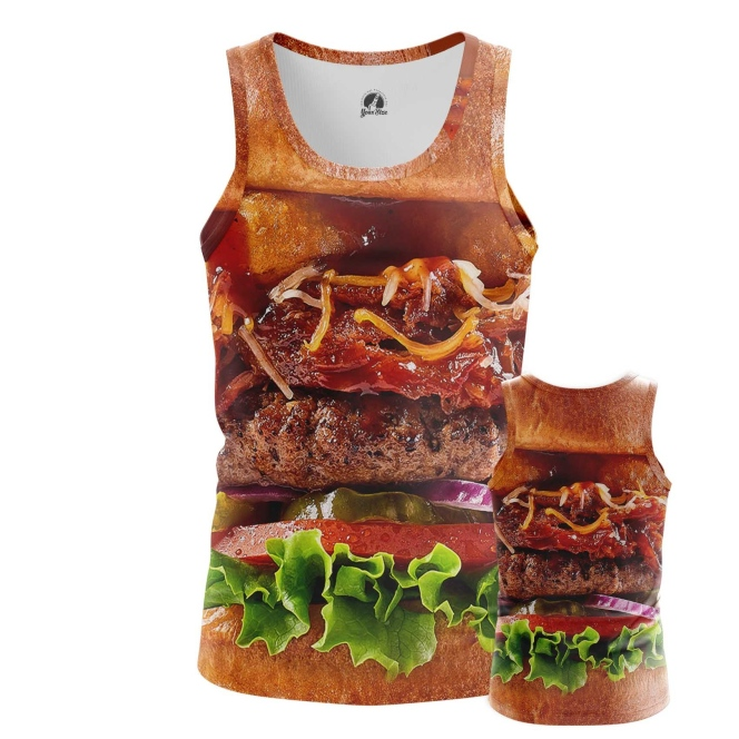 Buy Tank mens t shirt Tasty Food Art Fun Burger Apperel Meat merchandise collectibles