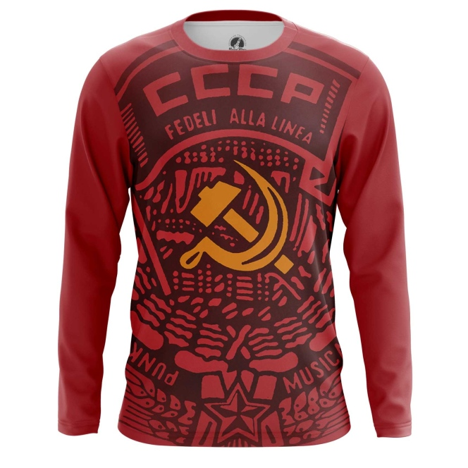 Buy Long sleeve mens t shirt USSR Red Hammer and sickle Merchandise collectibles
