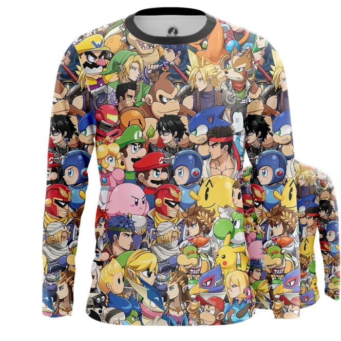 Buy Long sleeve mens t shirt Nintendo world Game Characters All Stars merchandise collectibles