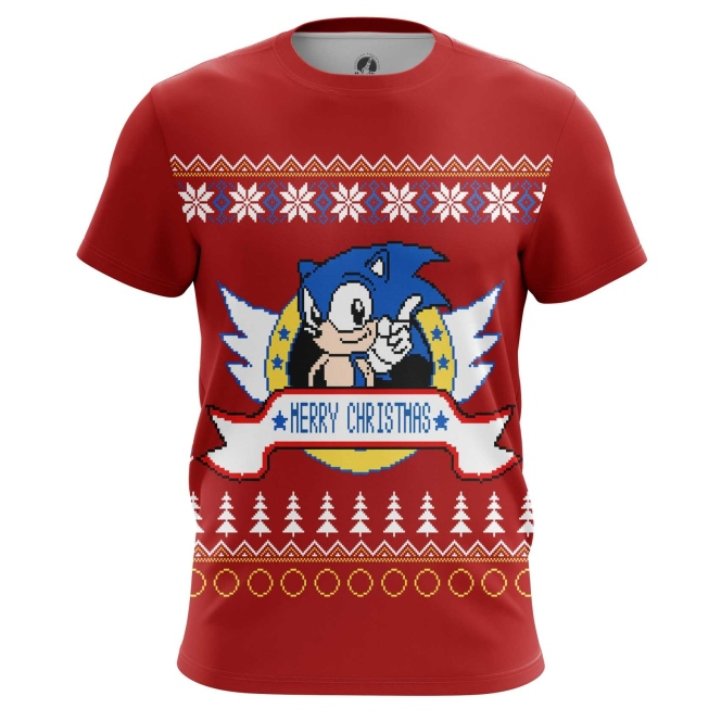 Buy Mens t shirt Sonic sonic the hedgehog X mas Christmas Special merchandise collectibles