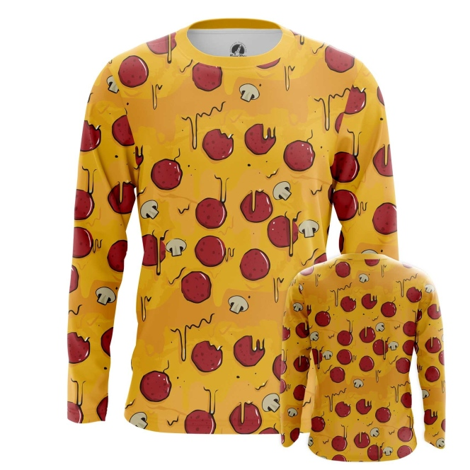 Buy Long sleeve mens t shirt Pizza Pattern Art Food Apparel merchandise collectibles