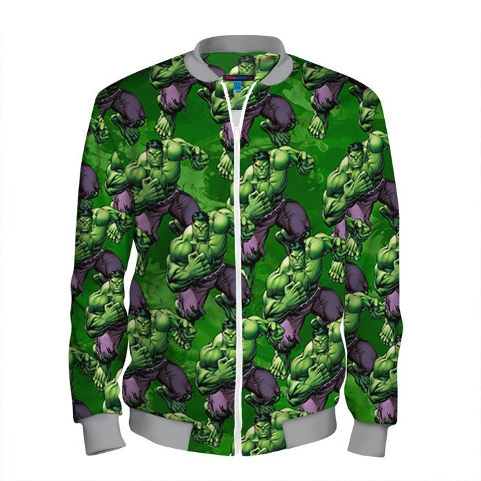 Buy Men's Bomber Jacket The Hulk pattern Baseball Apparel Merchandise collectibles