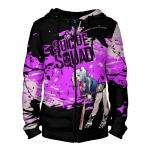 Merch - Zipper Hoodie Harley Quinn Purple Black