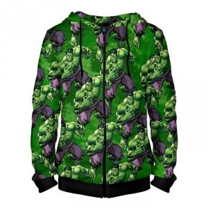 Collectibles Zipper Hoodie Hulk Pattern Gree Texture