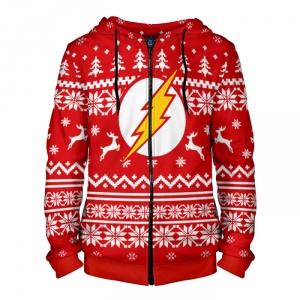 Merch Zipper Hoodie Christmas Pattern The Flash