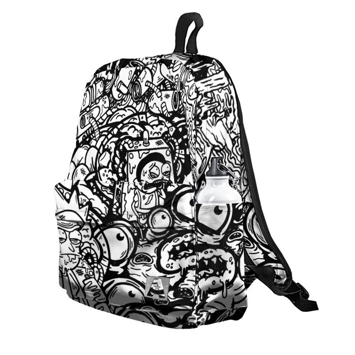 Buy Backpack Rick and Morty Black and White Pattern art School Bag merchandise collectibles