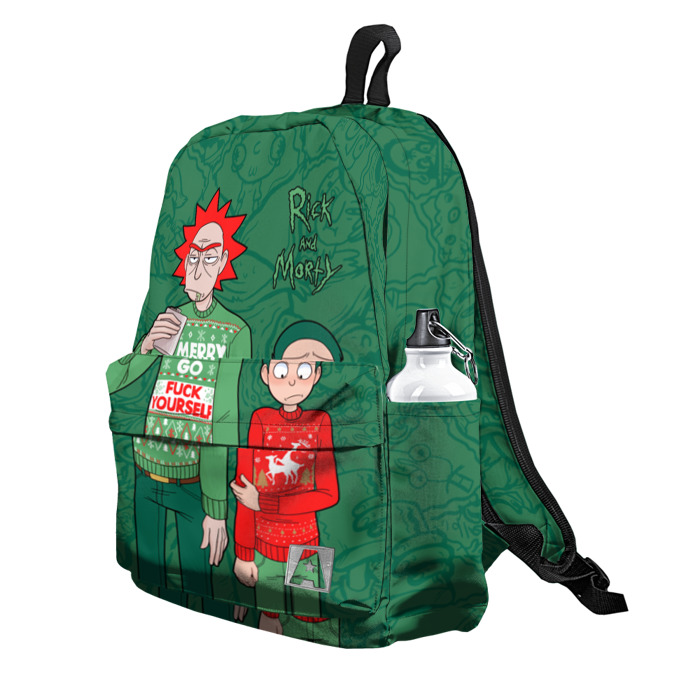 Buy Backpack Rick and Morty Merry Christmas F*ck yourself School Bag merchandise collectibles