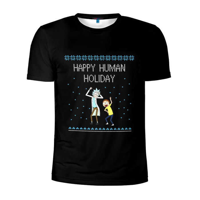 Buy Men's Compression t shirt Rick and Morty Happy Human Holiday Merchandise collectibles