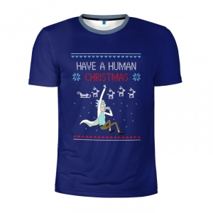 Buy Men's Compression t shirt Rick and Morty Have a Human Christmas Merchandise collectibles