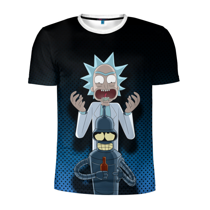 Buy Men's Compression t shirt Rick and Morty Bender Futurama Crossover Merchandise collectibles