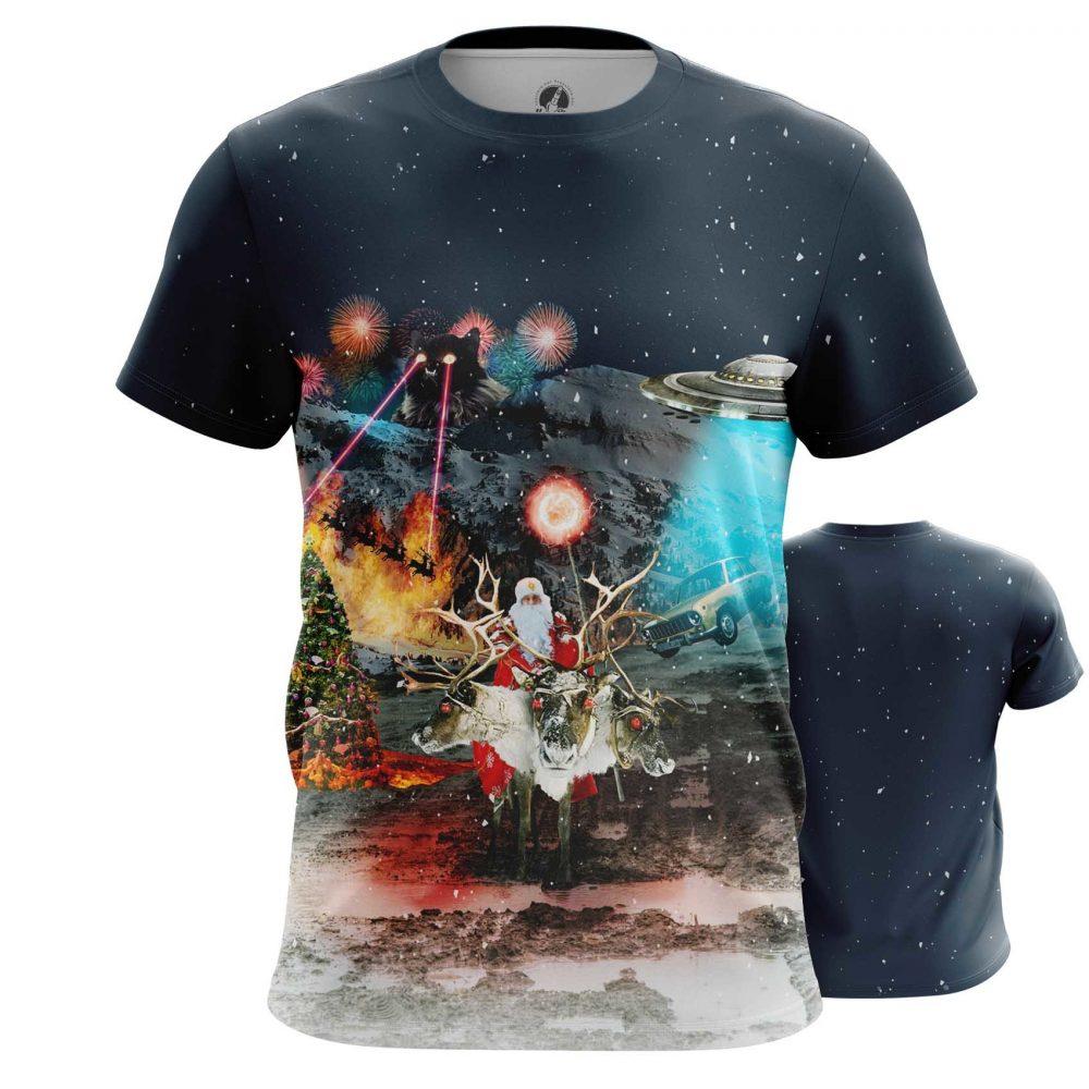 Merch Epic Christmas T-Shirt Santa Cats Ufo