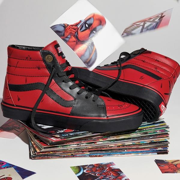 separation shoes cd58f 4ece5 VANS Sk8-Hi Deadpool Costume Red Shoes Inspired