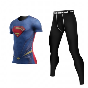 Merch Superman Man Of Steel Rashguard Set Costume