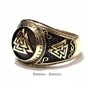 Buy Brass Ring Valknut Viking Ring Valknut Signet Ring Sz 6-15 Us