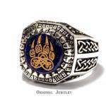 Buy Bear Paw Slavic Signet Ring Lapis Lazuli Bear Paw Silver 925 Ring