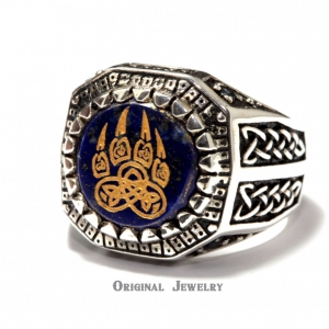 Buy Bear Paw Slavic Signet Ring Lapis Lazuli Bear Paw Silver 925 Ring