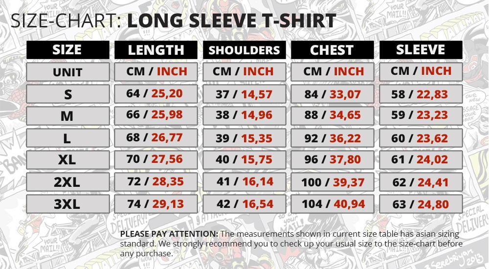 Size Chart Long Sleeve Rashguard