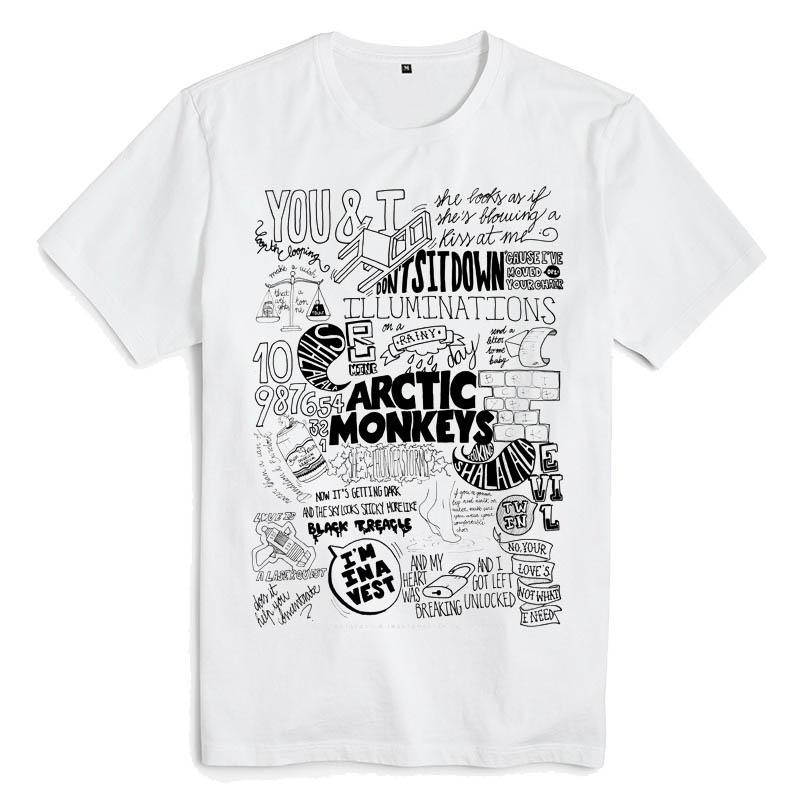 Merchandise T-Shirt Arctic Monkeys Lyrics White