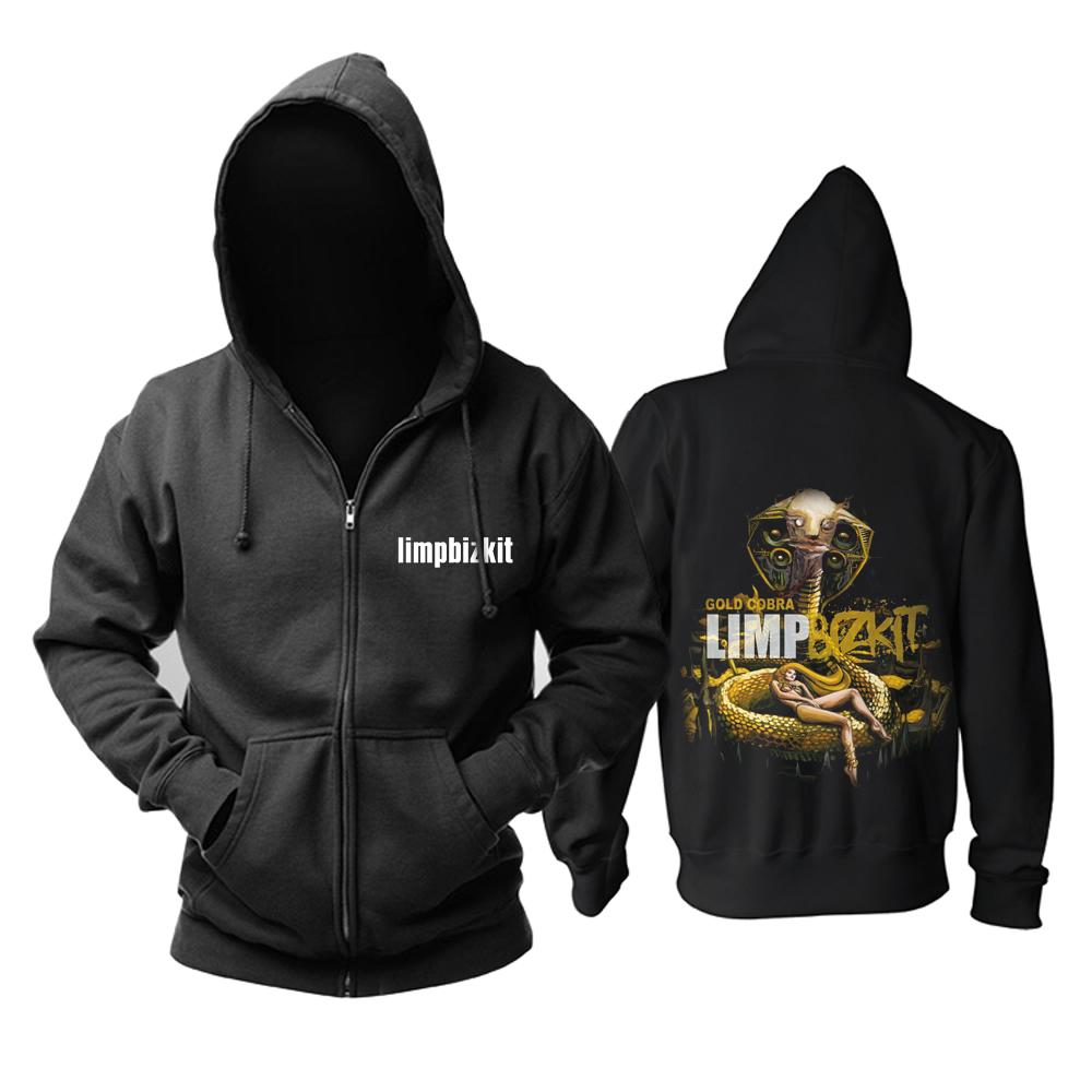 Merchandise Zipper Hoodie Limp Bizkit Gold Cobra Black Pullover