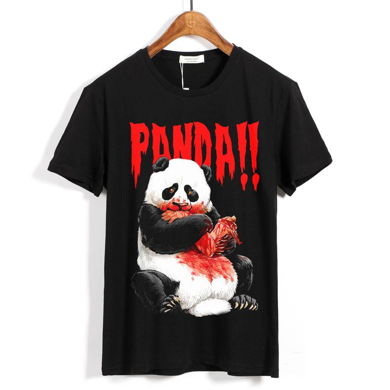 Merch T-Shirt Panda Eating Black