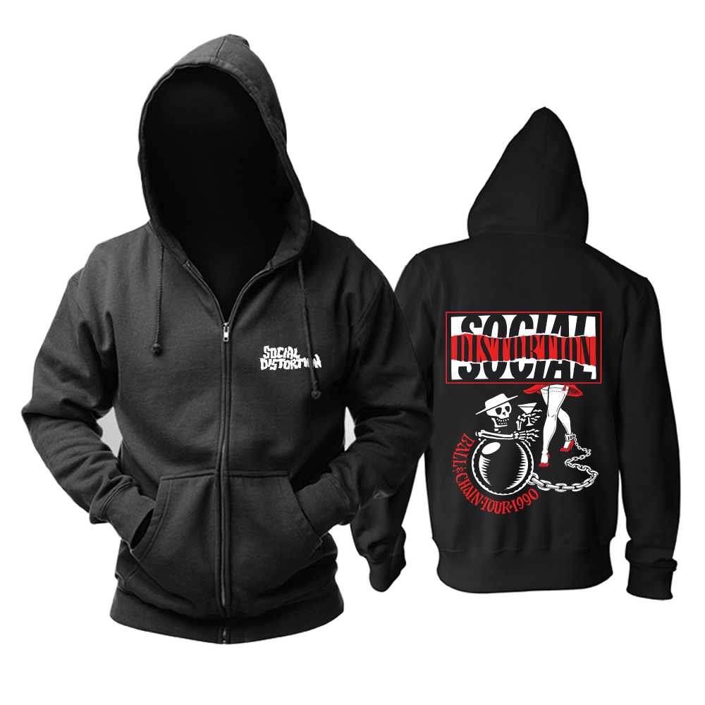 Merch Hoodie Social Distortion Ball And Chain Tour Pullover