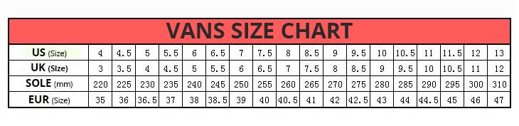 Vans Size chart