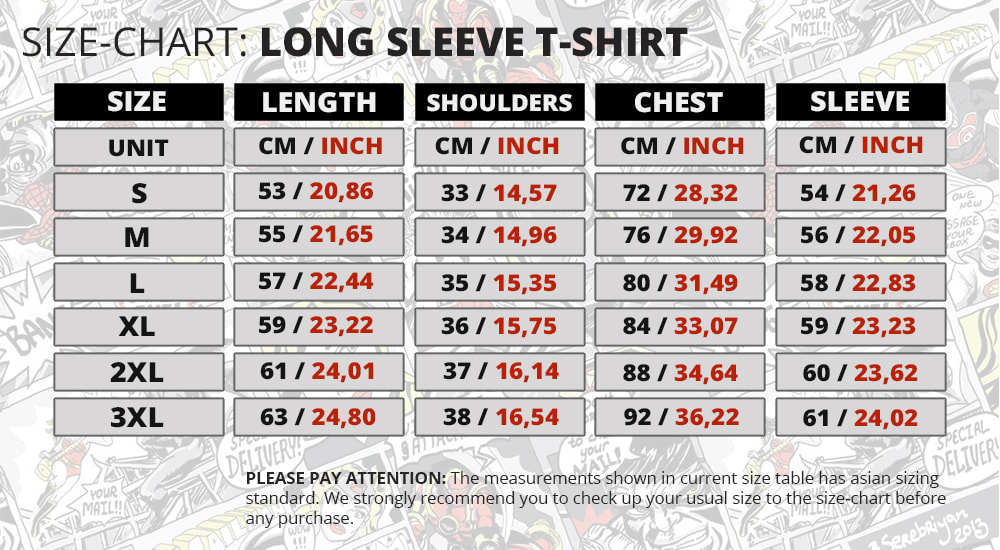 Size Chart Short Sleeve Rashguard