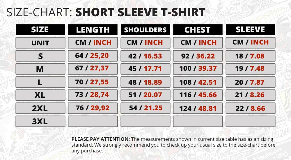basic sizechart t shirt