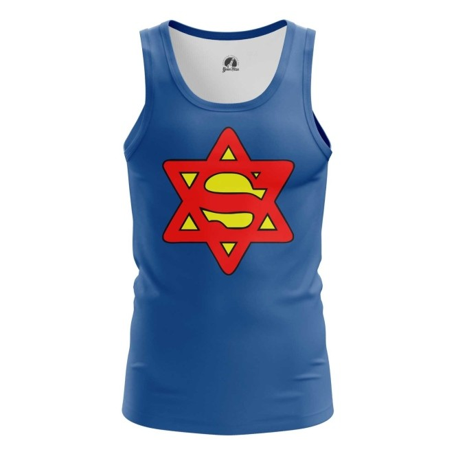 Merch Tank Super Jew Humor Tee Blue Vest
