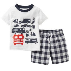 Collectibles Kids T-Shirts Shorts Set Fire Police Department