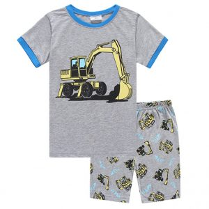 Collectibles Kids T-Shirts Shorts Set Excavator Building Cars Baby