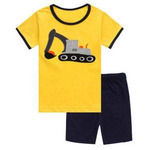 Collectibles Kids T-Shirts Shorts Set Excavator Vehicles